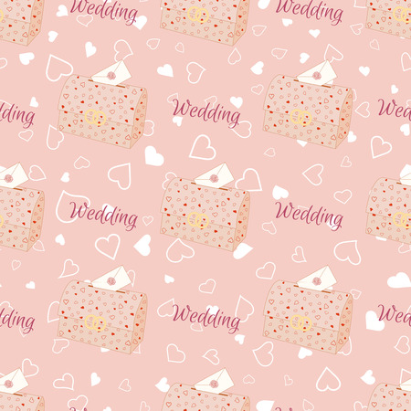 Pink wedding seamless pattern with chest. Stock Photo