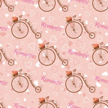 Wedding retro bicycle seamless pattern.