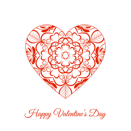 Vector Red Fretwork Floral Heart. Happy Valentines Day. Element for romantic love projects, holidays and designs.