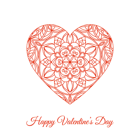 Vector red fretwork floral heart. Happy Valentines Day holiday illustration.