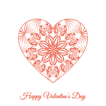 Vector Red Fretwork Floral Heart. Happy Valentines Day Holiday Illustration