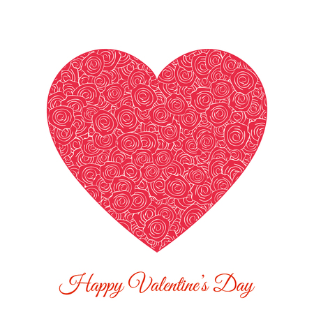 Vector Red Floral Heart. Happy Valentines Day Holiday