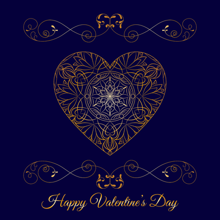 Gold fretwork floral heart over blue vector background, Happy Valentines day holiday.