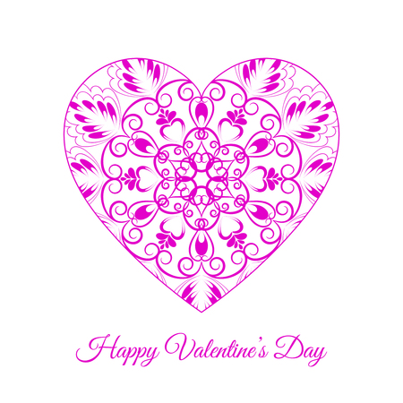Pink fretwork floral heart, Happy Valentine's day holiday vector illustration.  イラスト・ベクター素材