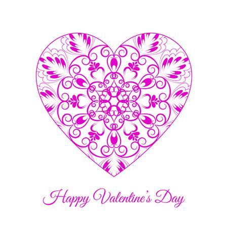 Pink fretwork floral heart, Happy Valentine's day holiday vector illustration. 版權商用圖片 - 95016248