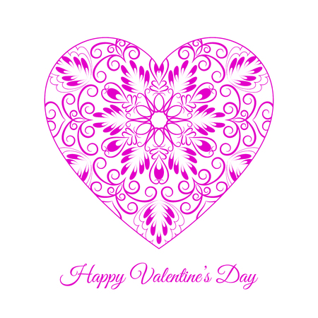 Pink fretwork floral heart, Happy Valentines day holiday vector illustration. Illustration