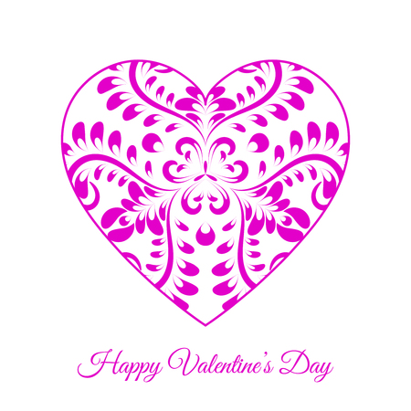Vector Pink Fretwork Floral Heart. Happy Valentines Day Holiday