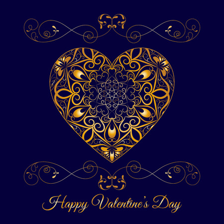 Vector Gold Fretwork Floral Heart Over Blue. Happy Valentines Day Holiday  イラスト・ベクター素材