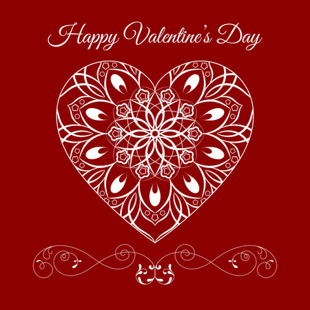 Vector Fretwork Floral Heart Over Red. Happy Valentines Day Holiday