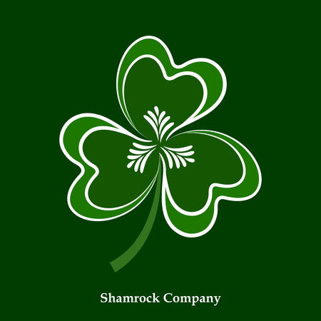 A Vector Green and White Leaf Shamrock Icon. Clover Symbol For Happy Patrick Day Holiday Projects.