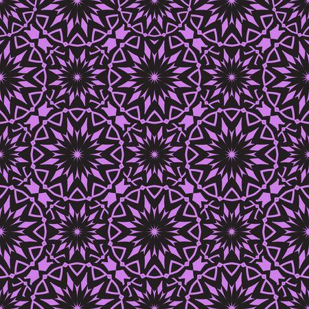 Vector Seamless Purple Floral Mandala Pattern.