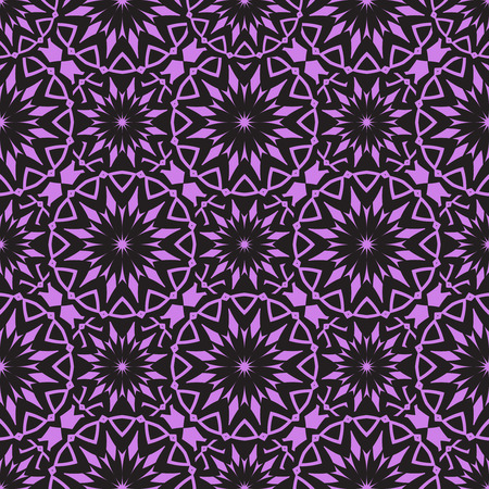 Vector Seamless Purple Floral Mandala Pattern.