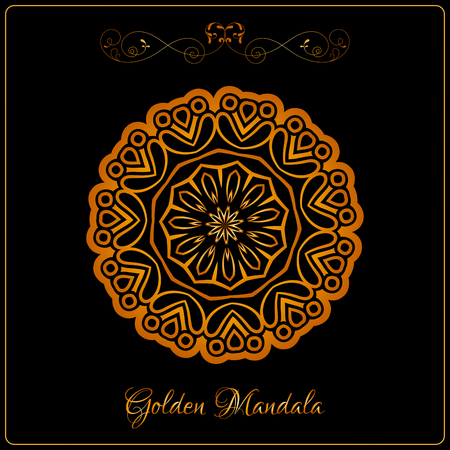 Vector Gold Color Indian Mandala over black background. Elements for your designs, invitation card, yoga, meditation, astrology and other projects. Arabic, asian motifs. Illustration