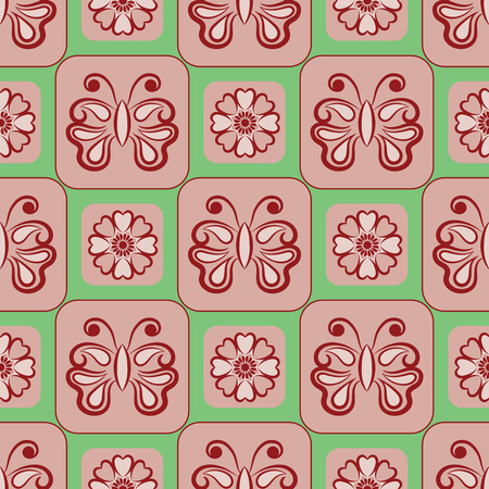 Vector Seamless Floral Pattern With Butterfly Symbol. Seamless background for your design, invitation card, meditation, astrology, fabric and other wrapped projects. Pattern in swatches panel.