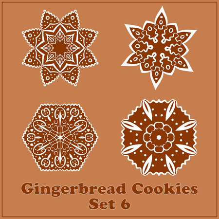 Vector Gingerbread Snowflakes Cookies Set. Merry Christmas Decor Elements. Illustration