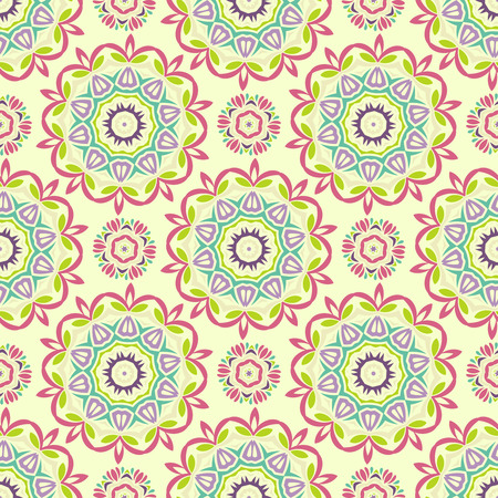 Abstract Vector Seamless Sunny Mandala Pattern. Texture for Background, Fabric, Textile, Paper and other projects. Pattern in swatches panel.