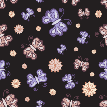 Vector Seamless Butterfly Randomly Pattern Texture. Seamless background for your design, invitation card, fabric, textile and other wrapped projects. Pattern in swatches panel. Ilustração