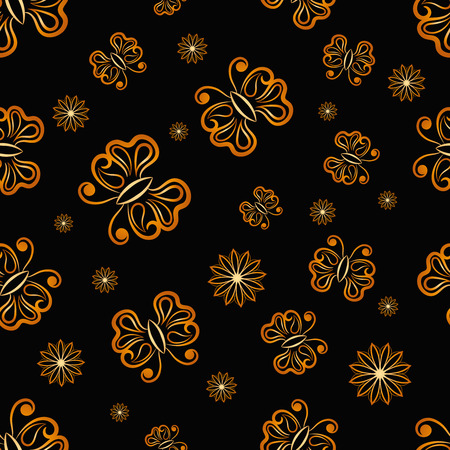 Vector Seamless Golden Butterfly Randomly Pattern Texture. Seamless background for your design, invitation card, fabric, textile and other wrapped projects.