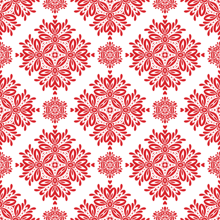 Vector Red Floral Seamless Pattern for Background. Pattern for your design, invitation card, fabric and other wrapped projects is in swatches panel.