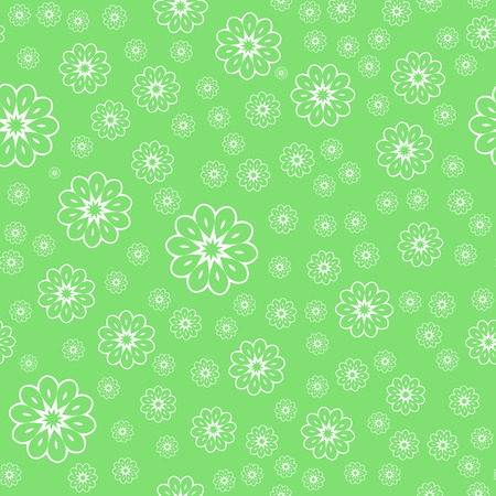Vector White Flower Seamless Pattern Over Green Background.. Pattern for your design, invitation card, fabric and other wrapped projects is in swatches panel.