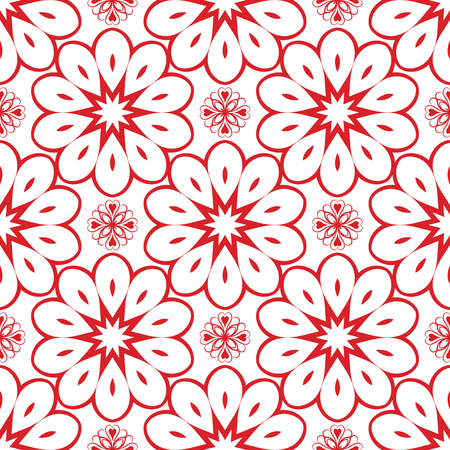 Vector Red Flower Seamless Pattern for Background. Pattern for your design, invitation card, fabric and other wrapped projects is in swatches panel. Illustration