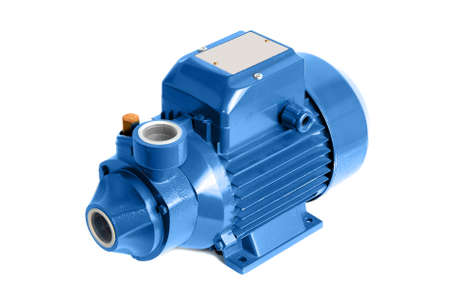 Vortex water pump with electric motor. Isolated on a white. Zdjęcie Seryjne