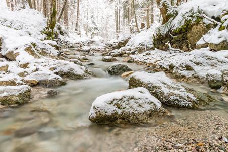 steiermark: Trotz klirrender Kälte bin ich in den Esslingbach in Hall bei Admont gestiegen um diese Aufnahme fest zu halten. Stock Photo
