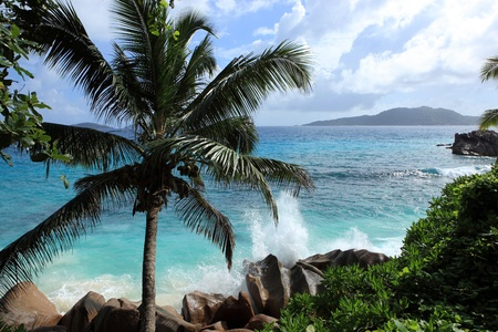coast of seychelles Stock Photo