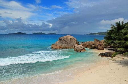 the bather: seychelles beach Stock Photo