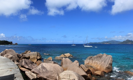 d argent: rock beach in Seychelles