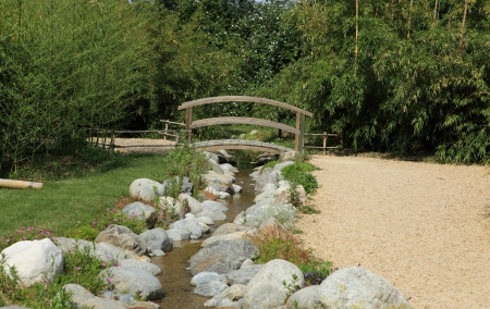 bridge over creek of water garden photo