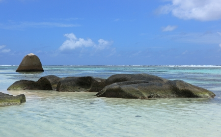 d argent: blue lagoon of seychelles Stock Photo