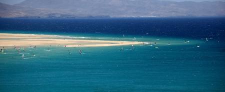 sandy beach and blue lagoon of canary islands