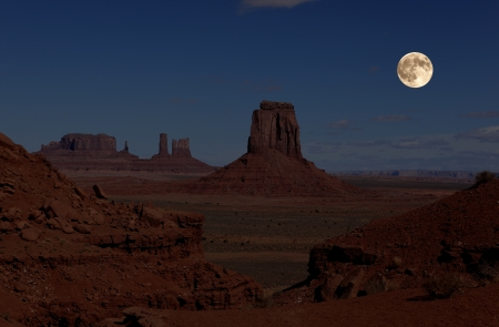 full moon in Monument Valley Stock Photo