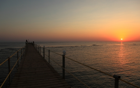 red sea in egypt and sunset 写真素材