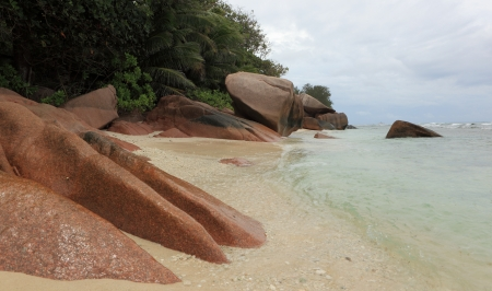 d argent: seychelles beach Stock Photo