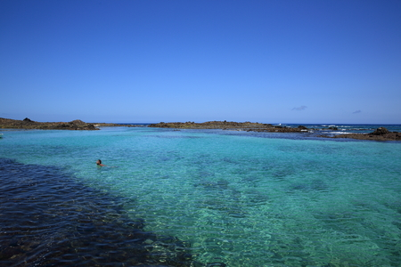 blue lagoon of canary island Stock Photo