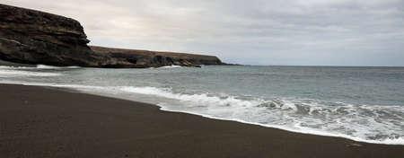 black sand beach of the island of Fuerteventura
