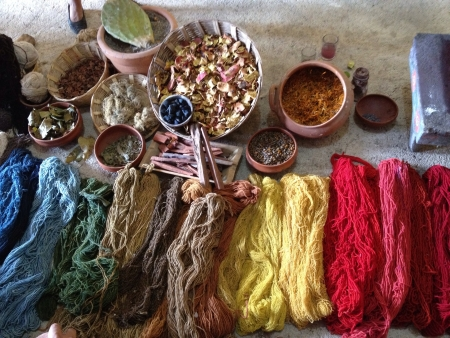 oaxaca: The spices and materials used to create a rug in Oaxaca