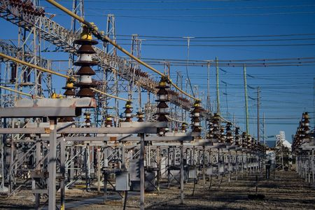 insulators: Electricity power sub station Stock Photo