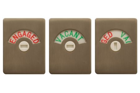 engaged: Toilet door locks, with all three settings, Engaged, Vacant and Undecided. Stock Photo