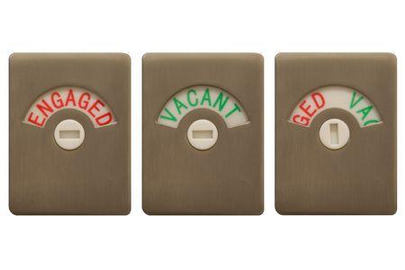 ind�cis: Toilettes serrures de porte, avec les trois param�tres, Engaged, Vacant et ind�cis. Banque d'images