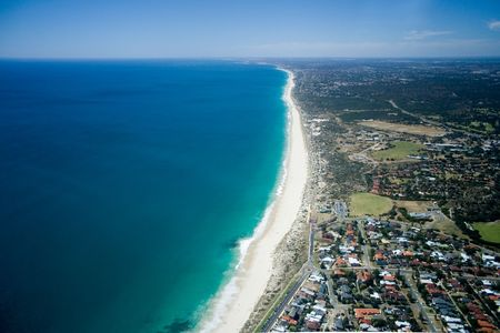 perth: Beautiful aerial view of Perths beach coastline, Western Australia. Stock Photo
