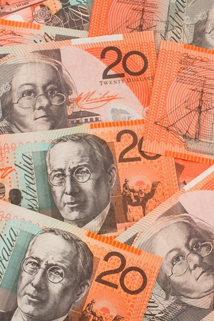 Australian Twenty Dollar ($20) Banknotes Scattered Background photo