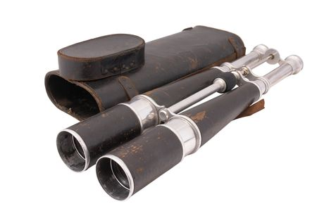 19 century binocular of dirigible (Zeppelin) captain with leather case. Made in France. Paris.  photo
