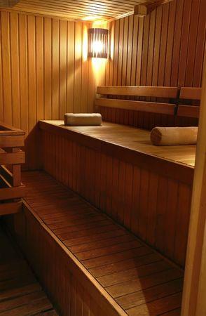 perspire: wooden steam room in sauna Stock Photo