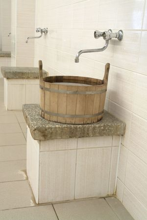 wash-tub in modern sauna photo
