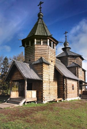 craftsmanship: Very rare example of wood church of XVIII century. Very interesting craftsmanship of Russian wood master. Museum of wood craftsmanship in Suzdal, Russia