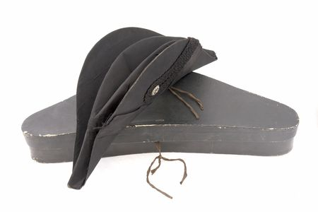 German ministerial cocked hat witn box. Black. 19 century. German  photo