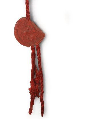 beeswaxseals: Vintage sealing wax seal from 17th century manuscript on white isolated background